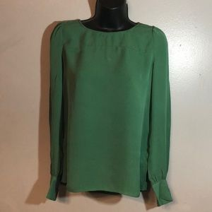 J.Crew Silk Long Sleeve Green Blouse Sz 2